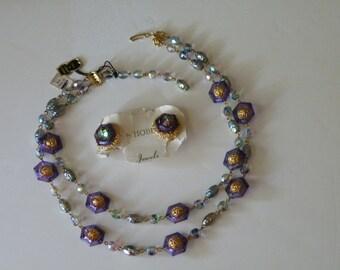 Hobe purple lavander iris watermelon necklace earrings Set Original tag