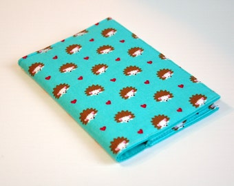 Passport Cover Sleeve holder  Fabric Travel Holiday Fun cute Hedgehogs and hearts on turquoise background