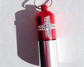 Key Chain Fob Waterproof Aluminum capsule PILL Medicine holder stash CASE