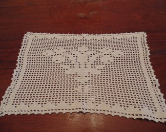 Hand Crocheted Light Taupe Doily or Small Centerpiece, flowers in the center