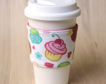Reversible Coffee Cup Sleeve - Cupcakes Coffee Cozy - Ready to Ship