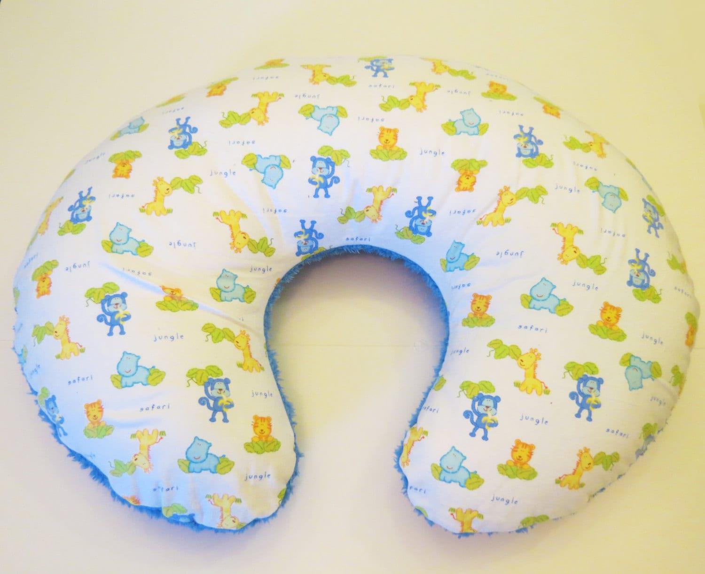 Reversible Animal Pillow : Reversible Boppy Nursing Pillow Cover: jungle Animal Flannel
