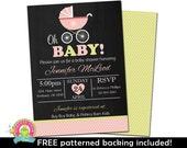 Baby Girl Shower Invitation - Baby Shower Invitations - Pink and Mint Baby Shower - Girl Baby Shower Invite - Printable Baby Shower Invites