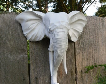Faux Taxidermy / Wall Mount Animal Head / Modern / Elephant Head Wall Decor / Matte White / Shabby Chic Decor