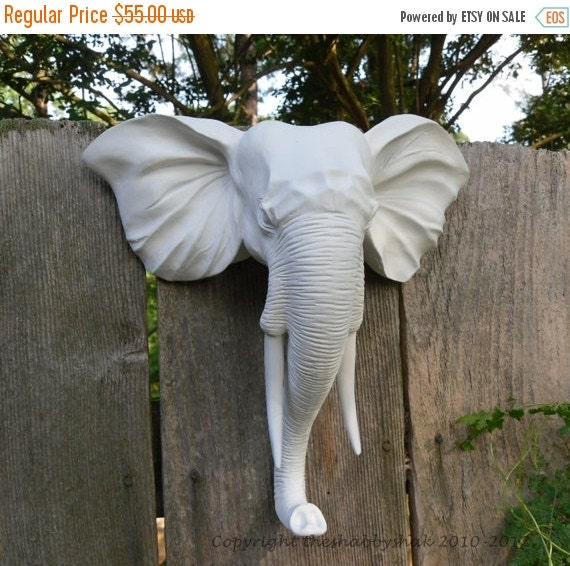 Faux Taxidermy / Wall Mount Animal Head / Modern / Elephant Head Wall Decor / Matte White / Shabby Chic Decor