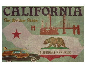 CALIFORNIA 1F- Personalized Leather Journal Cover Moleskine Field Notes Custom