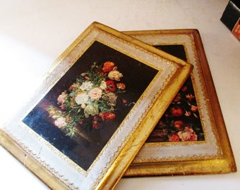Vintage Pair of Florentine Prints, Italian Florentine Pictures, Floral Plaques, Hollywood Regency