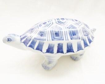 Blue and White Porcelain Turtle, Palm Beach Decor