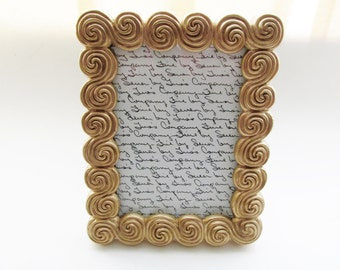Twos Company Golden Scroll Picture Frame, 5 x 7 frame, Hollywood Regency