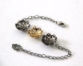 flowers nature bracelet ,gold plated bracelet,oxidize silver plated bracelet,adjustable chain bracelet.