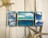 Original Painting Seascape Art Block Ocean Soaring Seagulls Beach House Decor by CastawaysHall - Ready to Ship