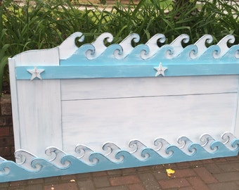 Waves Headboard King Size Beach House Furniture Decor by CastawaysHall - Assemble Yourself