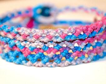 Multicolored hemp bracelet set, macrame, micromacrame, hippie, music festivals, hemp jewelry
