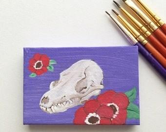 Fox Skull. Mini Macro Acrylic Painting