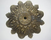 Vintage Brass Escutcheon Backplate, Ornate Design, Antiqued Finish, Replacement Hardware, Up Cycle, Repurpose, 3 Inch, 1 pc.