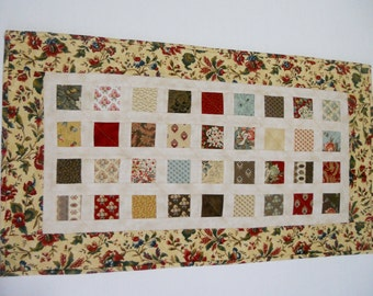 Primitive Quilted Table Runner, Country Quilted Table Topper, Handmade Table Quilt, Reproduction Fabrics, Vintage Style, Floral, Paisley,