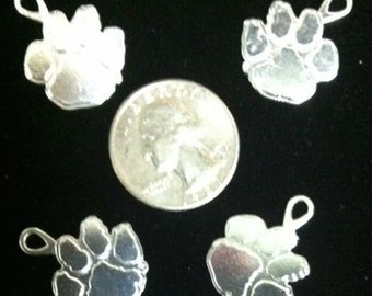 Clemson Tiger Paw silver Charms (4-piece)