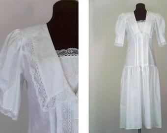 Vintage 80's Dress White Cotton Drop Waist Gunne Sax MIdi Size S / Small