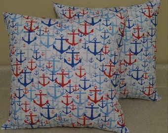 Set of 2 white red blue anchor beach sailor pillow covers shams Nautical cushions 16x16 americana
