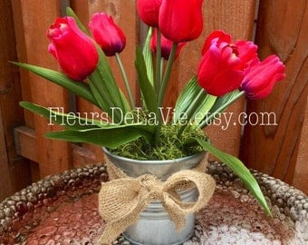 CLEARANCE! Flower Arrangement, Flower Pot, Tulips, Table Arrangement, Table Decoration, Tulip Pot, Silk Tulips