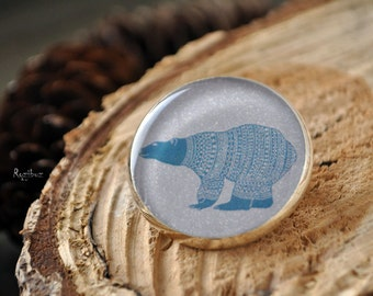 Polar bear brooch - blue cute bear on the snow north, North Pole bear in sweater, pink blue arctic bear, Nordic bear - made to order