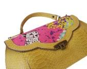 Mustard yellow chitta handbag, Leather woodland purse, Chita print bag, Women's cross body purse