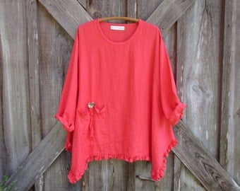 linen tunic top blouse in coral orange shrimp with pocket and ruffles ready to ship