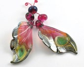 2 Raspberry Lustre Butterfly Wings : Lampwork Beads
