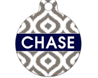 Personalized Pet ID Tag - Chase Custom Name Ikat Pet Tag, Dog Tag, Cat Tag, Luggage Tag, Child ID Tag