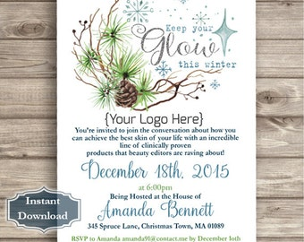 INSTANT DOWNLOAD - Keep Your Glow this winter - Event Invite Christmas - Digital File