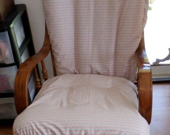 Glider Rocker Slip Cover FOR YOUR Glider Cushions - Peach Ticking Cotton   Slipcover or Any Color you choose.