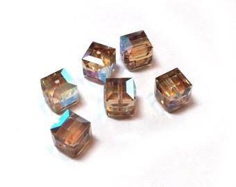 Swarovski Crystal Cube Beads Light Colorado Topaz AB