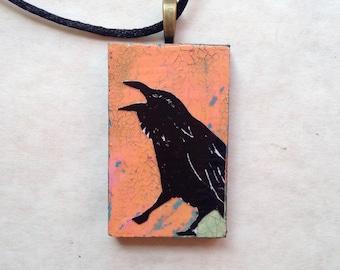 Raven Blackbird Textured Art Pendant Necklace Jewelry