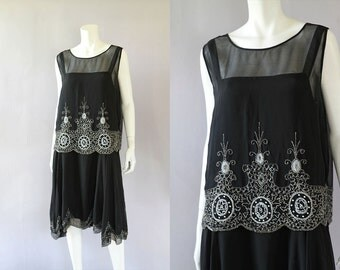 1920s Beaded Dress - Vintage 20s Black Flapper Dress - Sheer Chiffon with Underdress