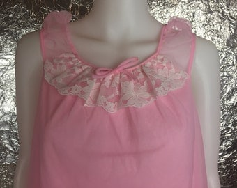 CLEARANCE  Vintage 60's Pink Baby Doll Top w/ Lace  M