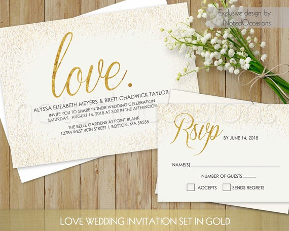 Printable Wedding Invitation Set Gold Wedding By