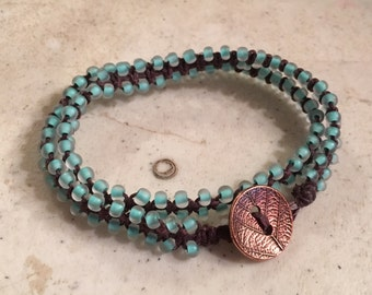 Brown Wrap Bracelet - Macrame Jewelry -Turquoise Seed Beads - Fashion - Trendy - Beaded - Copper Button