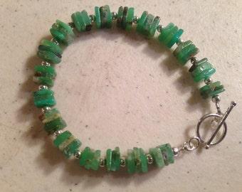 Green Bracelet - Chrysoprase Gemstone Jewelry - Sterling Silver Jewellery - Fashion - Heishi