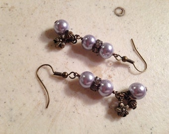 Lavender Earrings - Brass Jewelry - Fashion Jewellery - Pearls - Crystals - Charms - Trendy