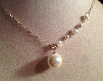Pearl Necklace - Wedding Jewelry - Sterling Silver  Jewellery -  Chain - Pendant - Bride