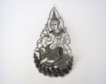 Vintage Asian cut out figure/ Asian accent/ deity/ boho decor