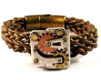 Steampunk leather bracelet