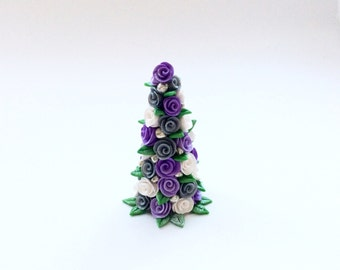 Miniature dollhouse Christmas tree with white, silver and lilac roses handmade from polymer clay