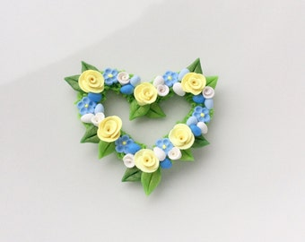 Miniature Easter egg heart wreath with yellow and blue flowers for 1:12 scale dollhouse handmade from polymer clay