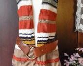 Vintage Hippie ~60s 70s ~Striped Sweater Vest~Tassel~Earthy Tones