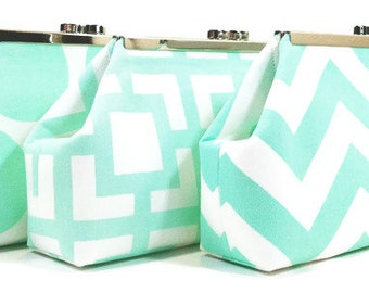 Mint Sea Foam Bridesmaid Clutches, Wedding Clutch Purse, Bridal Party Bags, Bridesmaids Gifts