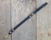 "HEAVYWEIGHT Black Latigo Leather Leash - 19"" Length"