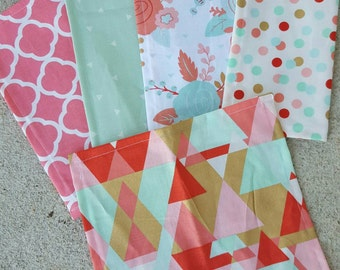 Lunch box cloth napkins- the coral  & mint  set