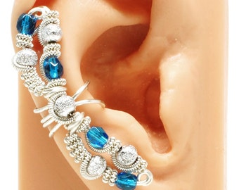 Fairy Ear Cuff, Silver and Blue Glass - RIGHT ear only