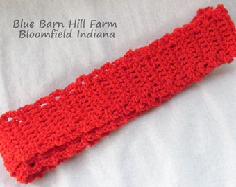 Handmade Child Scarf - Fiery Red - Subtle Scalloped edge